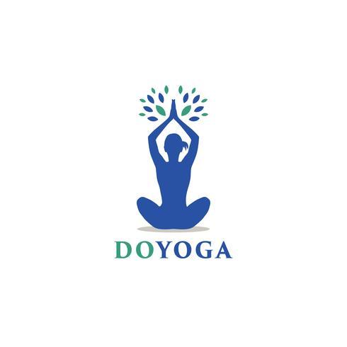 Logotipo de ioga feminina vetor
