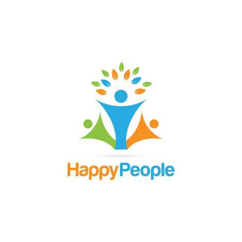 Logotipo colorido de pessoas felizes vetor