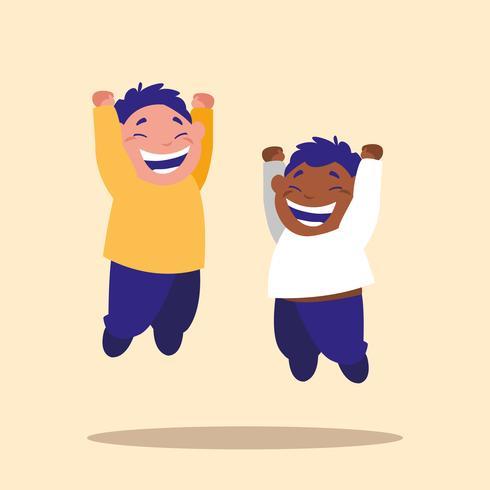 cute little children jumping personagem de avatar vetor