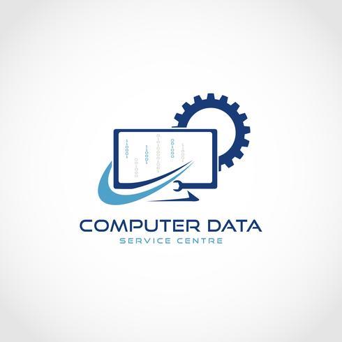Logotipo de serviço de computador vetor