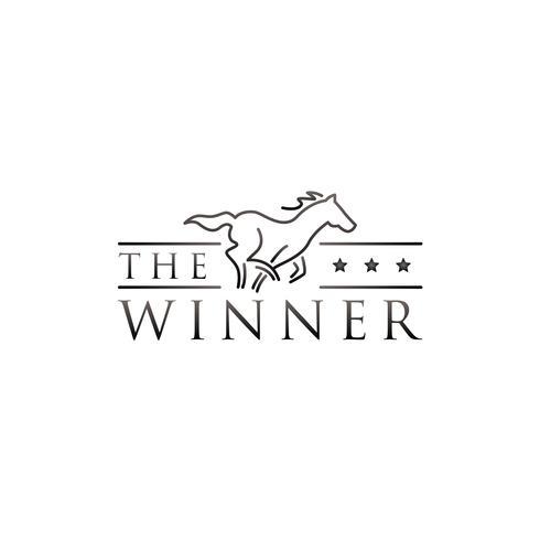 Logotipo de corrida de cavalo de arte de linha vetor
