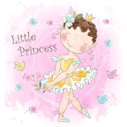 Princesa menina com pássaros vetor