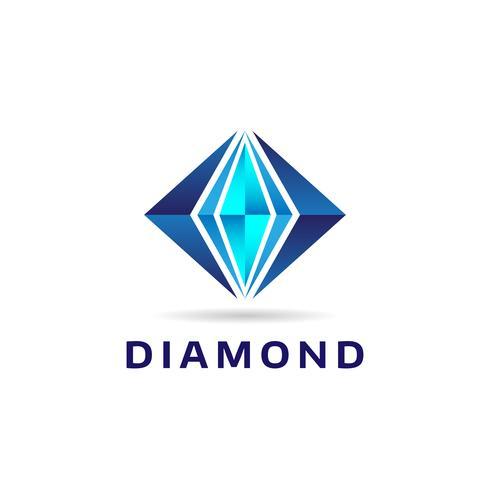 Logotipo de forma de diamante azul vetor
