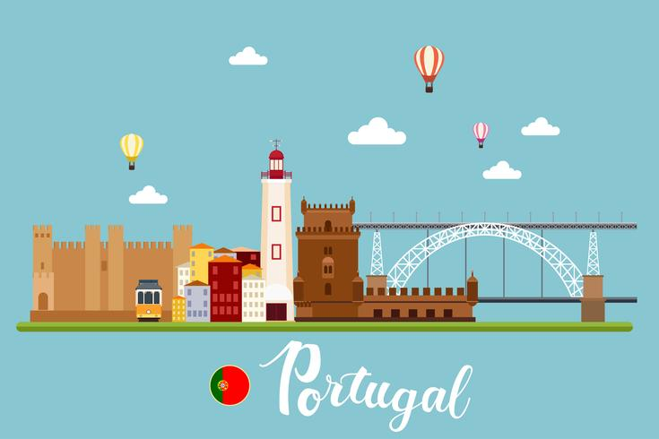 Paisagens de viagem em Portugal vetor