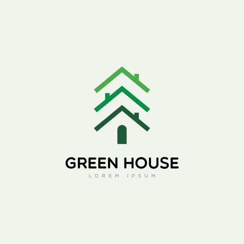 Casa Verde Com Logotipo De Pinheiros vetor