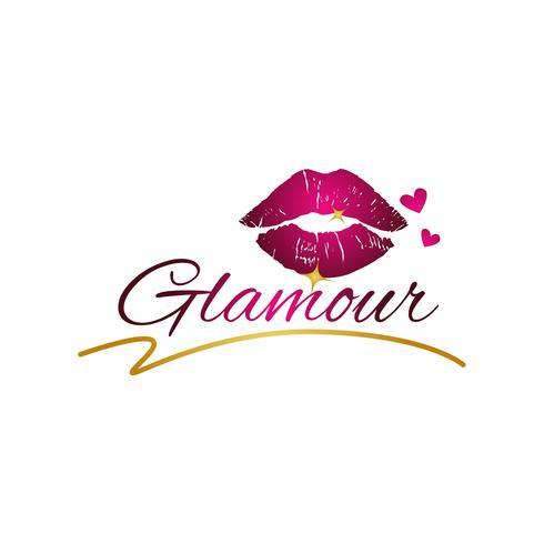 Lábios glamour com corações vetor