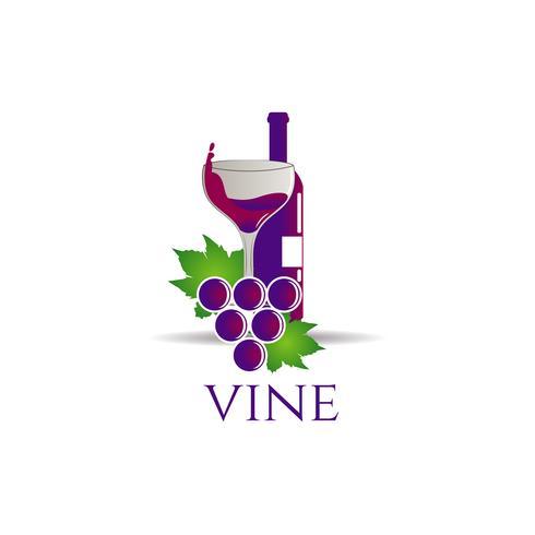 Garrafa De Vinho Com Uvas E Vidro vetor