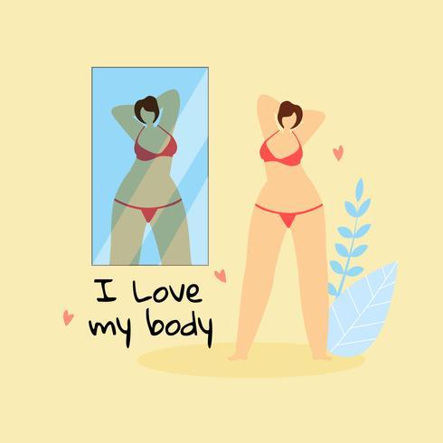 Plus Size mulher olhando no espelho vetor