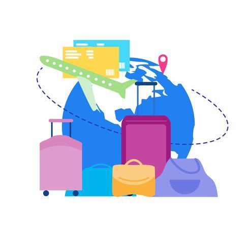 Vôo de férias com bagagem plana vetor