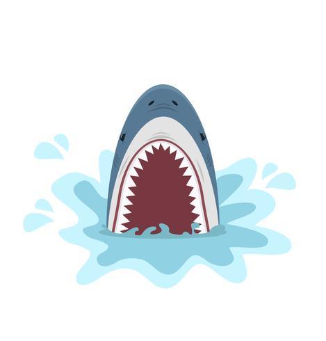 tubarão com mandíbulas abertas vetor