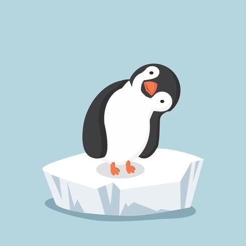 pinguim no bloco de gelo vetor