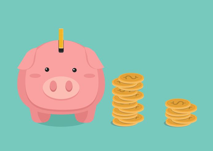 ilustração plana Piggy bank e pilhas de moedas de ouro vetor