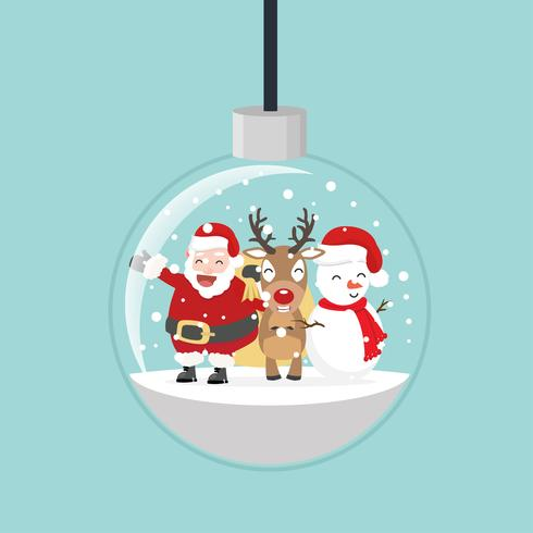 bola de natal com Papai Noel e amigos vetor