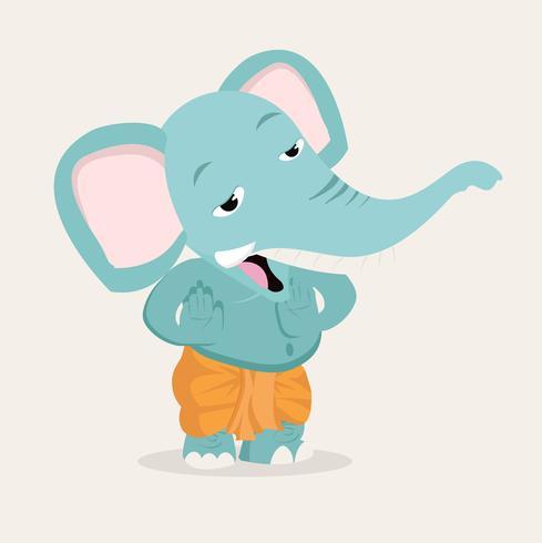 Desenho de vetor de desenhos animados elefante Ganesha