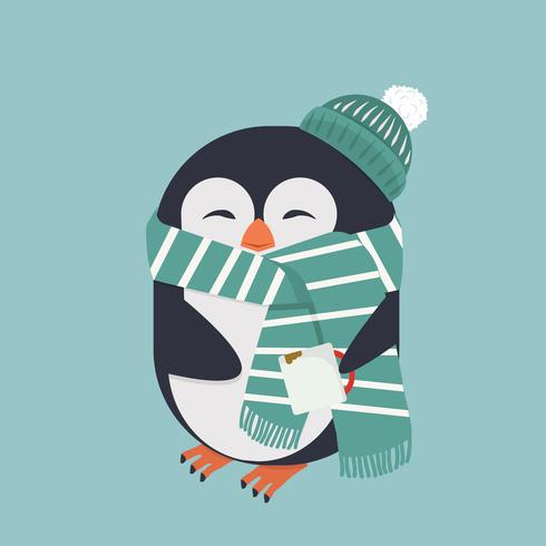 Pinguim sorridente com café vetor