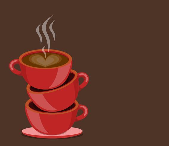 copos vermelhos café vetor
