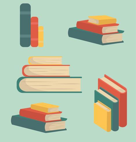 Conjunto de livro de pilhas em design plano vetor