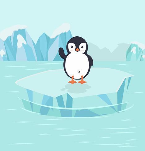 Pássaro de pinguim no pólo norte do Ártico vetor