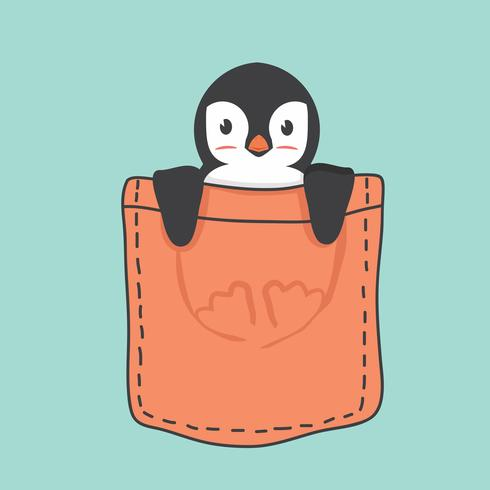 Pinguim bonitinho dentro do bolso vetor
