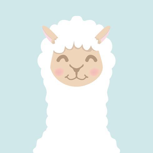 Cara de cabeça fofa alpaca bonito vetor