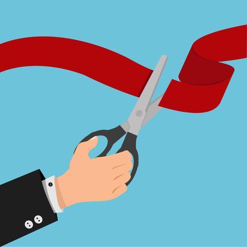 mão de empresário Red ribbon with black scissors vetor