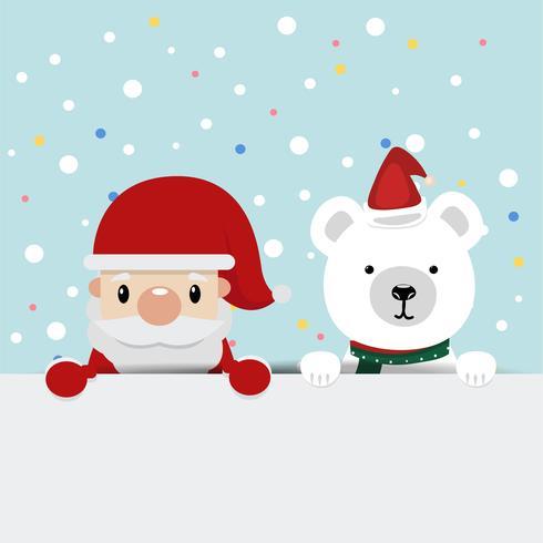 Papai Noel com fundo de ursos vetor