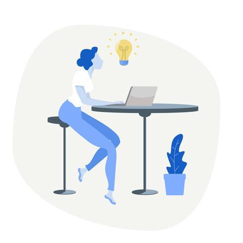 mulher de negócios usando o computador com o conceito de lâmpada vetor