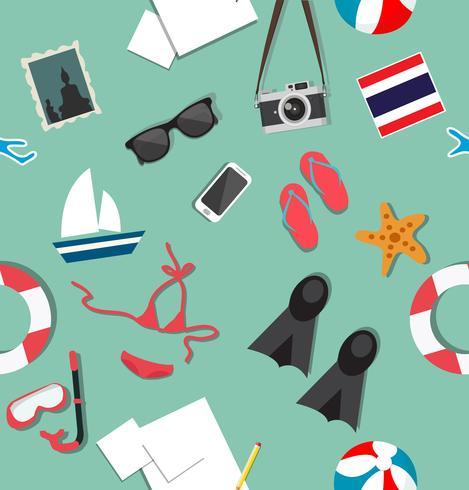Teste padrão da colagem dos acessórios do feriado da praia do verão vetor