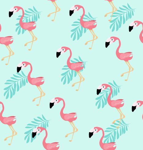 Padrão de vetor de pássaro flamingo rosa bonito