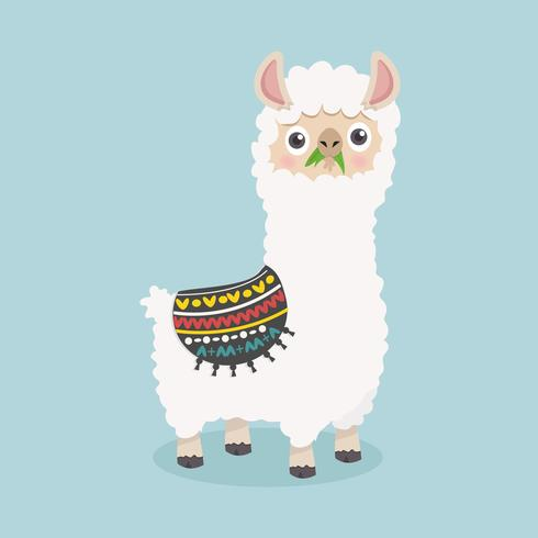 Bonito engraçado alpaca fofo comer grama vetor