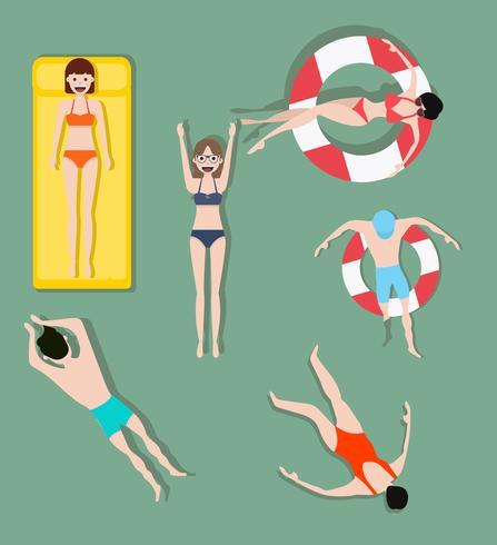 Pessoas, natação, verão, fundo vetor