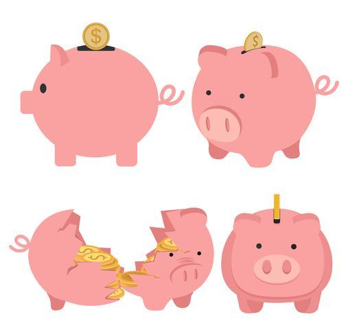 Cofrinho com conceito de moeda indo do conjunto de crescimento vetor