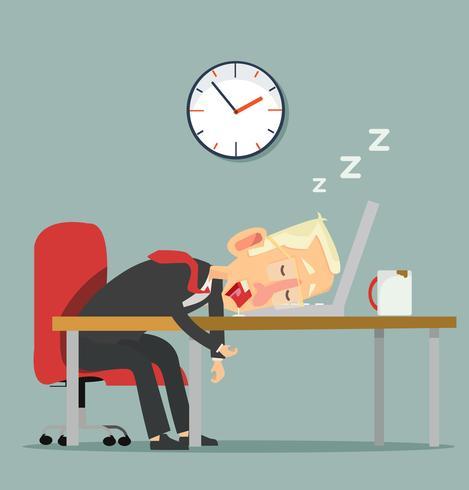 personagem de empresário dormindo no trabalho vetor
