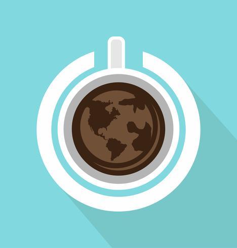 vista superior do copo de café com o poder com sombra longa vetor