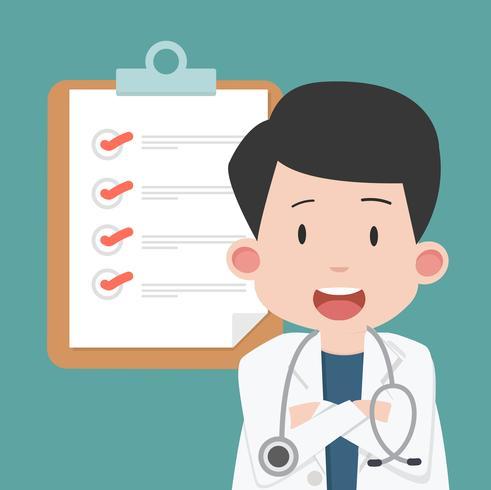 Doutor homem com prancheta e lista de verificação vetor