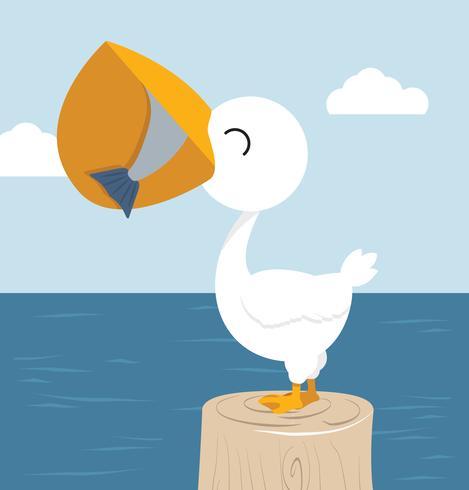 Pelicano, comer, peixe, em, a, baía vetor