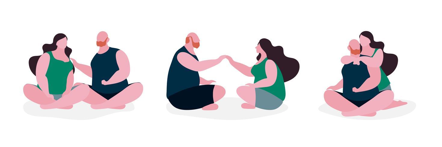 Par, gorda, personagem, ilustração vetor