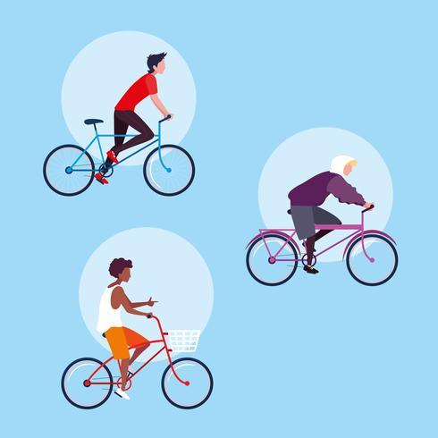 grupo de jovem andando de bicicleta personagem de avatar vetor