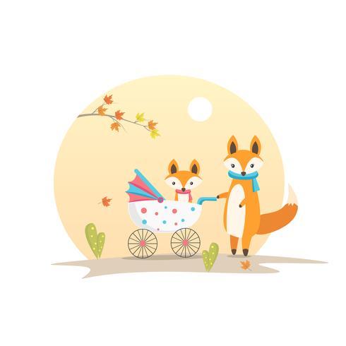Fox da mãe com Fox do bebê em um cartaz do dia de mães vetor