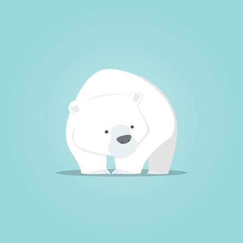 Urso polar bonito dos desenhos animados, Urso polar bonito design de personagens vetor