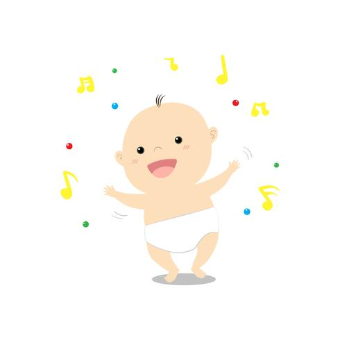 Bebê bonito dos desenhos animados, dançando alegremente música vetor