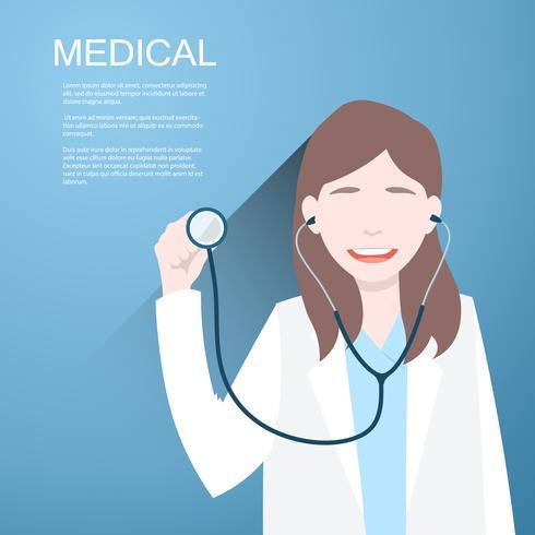 Medique mulheres com um estetoscópio nas mãos no fundo. vetor