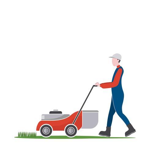 Homem de cortador de grama cortar grama, empregos de quintal vetor