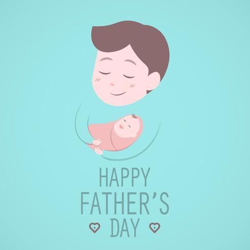 Pai segurando bebê fofo. Feliz dia dos pais. vetor
