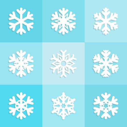 Conjunto de ícones de flocos de neve, coleção de Inverno de Natal vetor