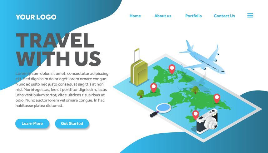 mapa isométrico da página de destino do site de ilustração de viagens vetor