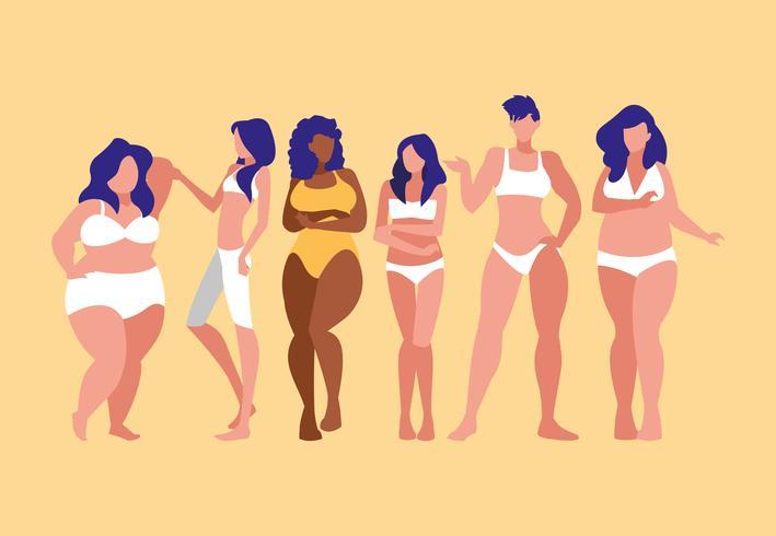 mulheres de diferentes tamanhos e raças modelando roupas íntimas vetor