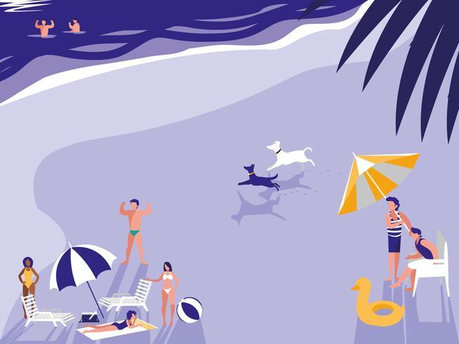 pessoas na paisagem de praia tropical vetor