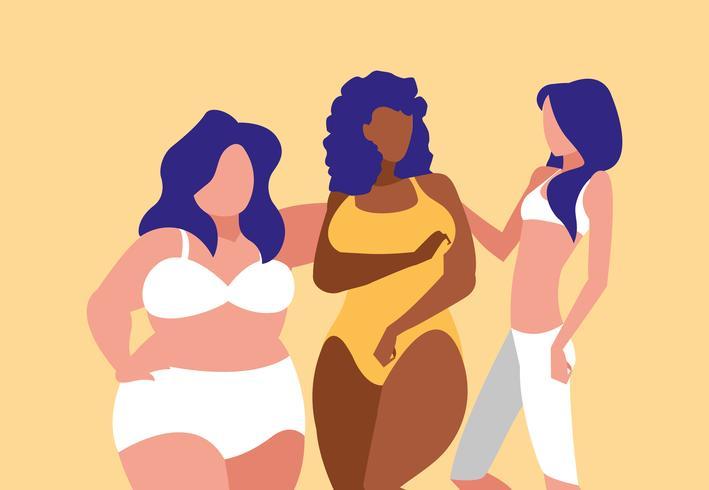 mulheres de diferentes tamanhos modelando roupas íntimas vetor