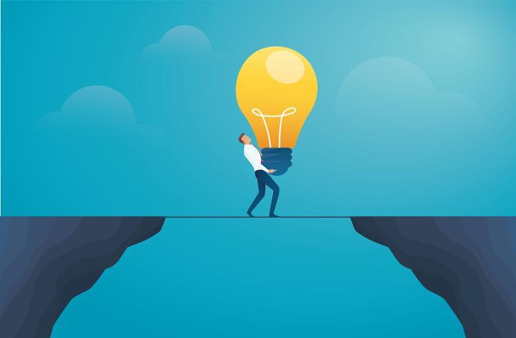 empresário segurando a lâmpada e atravessar a montanha. vetor